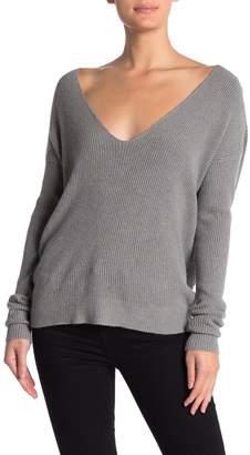 Love Stitch V-Neck Twist Back Dolman Sleeve Sweater