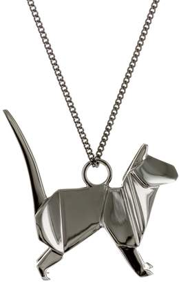 Origami Jewellery Cat Necklace Gun Metal