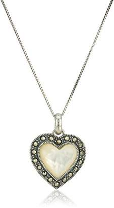 Mother of Pearl Sterling Silver Heart with Marcasite Pendant Necklace