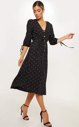 PrettyLittleThing Black Polka Dot Tortoise Shell Button Front Tie Midi Dress