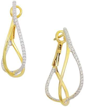 Frederic Sage 18K Yellow Gold Crossover Diamond Hoop Earrings