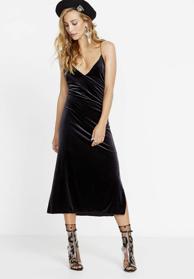 Spaghetti Strap V Neck Velvet Dress