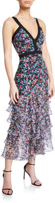 Saloni Lana Floral V-Neck Tiered Flounce Dress