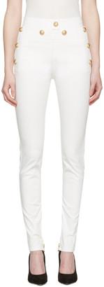 Balmain White Gold Buttons Jeans $1,360 thestylecure.com