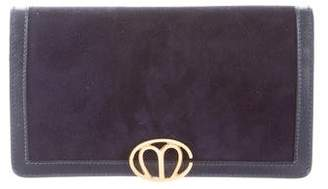 Mark Cross Leather-Trimmed Suede Clutch