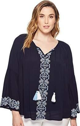 Karen Kane Women's Plus Size Embroidered Double Tassel Top