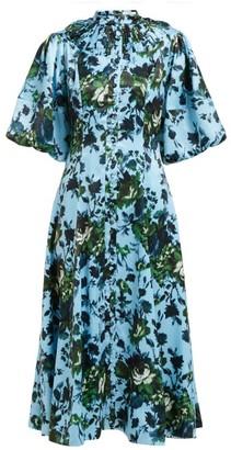 Erdem Margo Floral Print Button Down Dress - Womens - Blue Multi