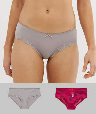 Dorina Ida 2 pack hipster brief in red and gray