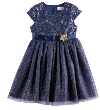 Nannette Girls 4-6x Sequin & Glitter Knit Dress