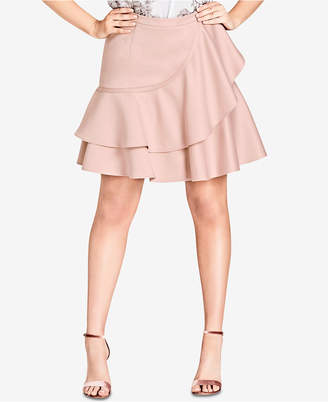 City Chic Trendy Plus Size Ruffled A-Line Skirt