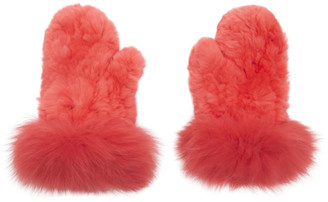 Yves Salomon Red Rex Rabbit and Fox Fur Mittens