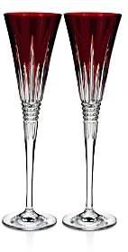 Lismore Diamond Red Toasting Flute, Set of 2