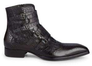 Jo Ghost Textured Leather Wingtip Buckle Boots