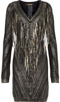 Roberto Cavalli Metallic Fringed Open-Knit Dress