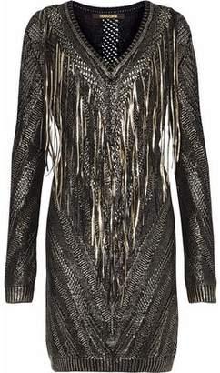 Roberto Cavalli Metallic Fringed Open-Knit Dress