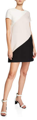 London Times Crewneck Colorblock Sheath Dress