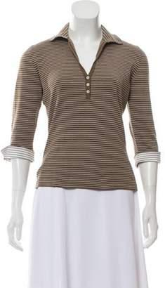 Loro Piana Striped Polo Top Brown Striped Polo Top