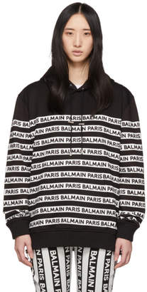 Balmain Black and White Logo Hoodie