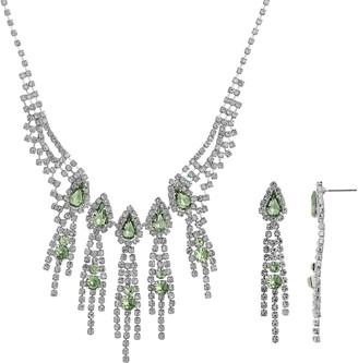 Crystal Allure Fringe Necklace & Linear Drop Earring Set