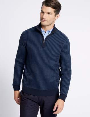 Marks and Spencer Pure Cotton Two Tone Half Zipped Jumper