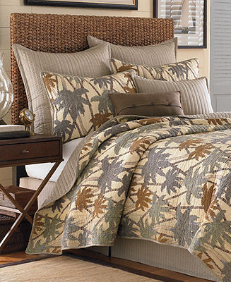 Tommy Bahama Home, Drift Palm Ivory Twin Quilt