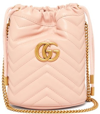 Gucci Gg Marmont Leather Bucket Bag - Womens - Light Pink