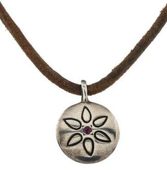 Me & Ro Me&Ro Ruby Tiny Lotus Motif Mandala Pendant Necklace