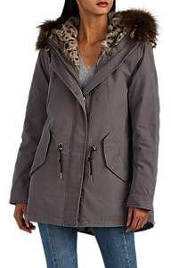 Barneys New York WOMEN'S FUR-TRIMMED & FUR-LINED COTTON JACKET