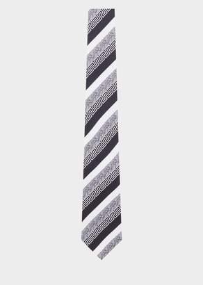 Versace Greca Barocco Print Silk Tie