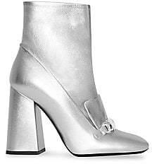 Burberry Women's Brabant Metallic Leather Block Heel Booties