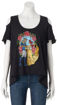 Disney's Beauty and the Beast Juniors' Cold-Shoulder Graphic Tee $24 thestylecure.com