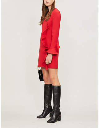 Valentino Ruffled-detail wool and silk-blend mini dress