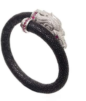 AMMANII - Horse Head Stingray Bracelet With Platinum Plated Silver