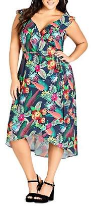 City Chic Plus Jungle Jam Floral Wrap Dress