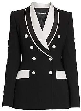 Dolce & Gabbana Women's Double Breasted Stretch Silk & Wool Contrast Blazer