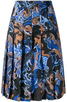 Marni colour-block pleated skirt