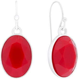 Liz Claiborne Red Stone Silver-Tone Drop Earrings