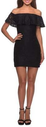 La Femme Off-the-Shoulder Ruffle-Sleeve Short Lace Dress