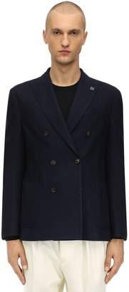 Lardini Double Breasted Wool Blend Knit Jacket
