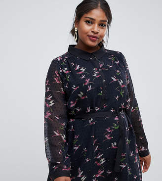 Yumi Plus shirt dress in bird dobby print