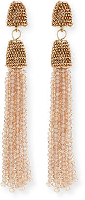 Lydell NYC Chain & Bead Tassel Drop Earrings