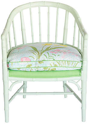 One Kings Lane Vintage Bamboo-Style Green Armchair - Madcap Cottage