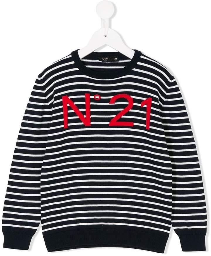 No21 Kids logo striped jumper