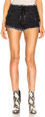 Unravel Stonewash Lace Up Denim Shorts in Black | FWRD