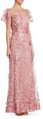 David Meister Embroidered Flutter-Sleeve Gown