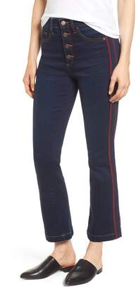 1 STATE 1.STATE High Rise Ribbon Stripe Kick Flare Button Fly Jeans