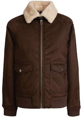 Pretty Green Faux Shearling Flight Jacket