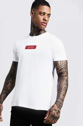 boohoo MAN Red Box Logo Print T-Shirt