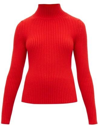 Balenciaga High Neck Ribbed Knit Sweater - Womens - Red