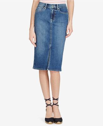 Lauren Ralph Lauren Stretch Denim Pencil Skirt $89.50 thestylecure.com